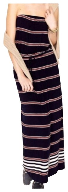 Item - Navy Strapless Striped Long Casual Maxi Dress Size 4 (S)