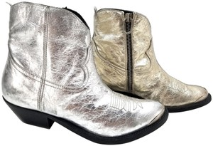 Golden Goose Deluxe Brand Ankle Gunmetal Zippers Weatherproof Finish Leather Upper Made In Italy Gold and Silver Boots