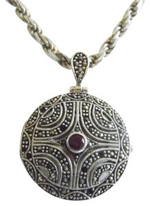 .925 Sterling Silver Marcasite Locket with Ruby Accent