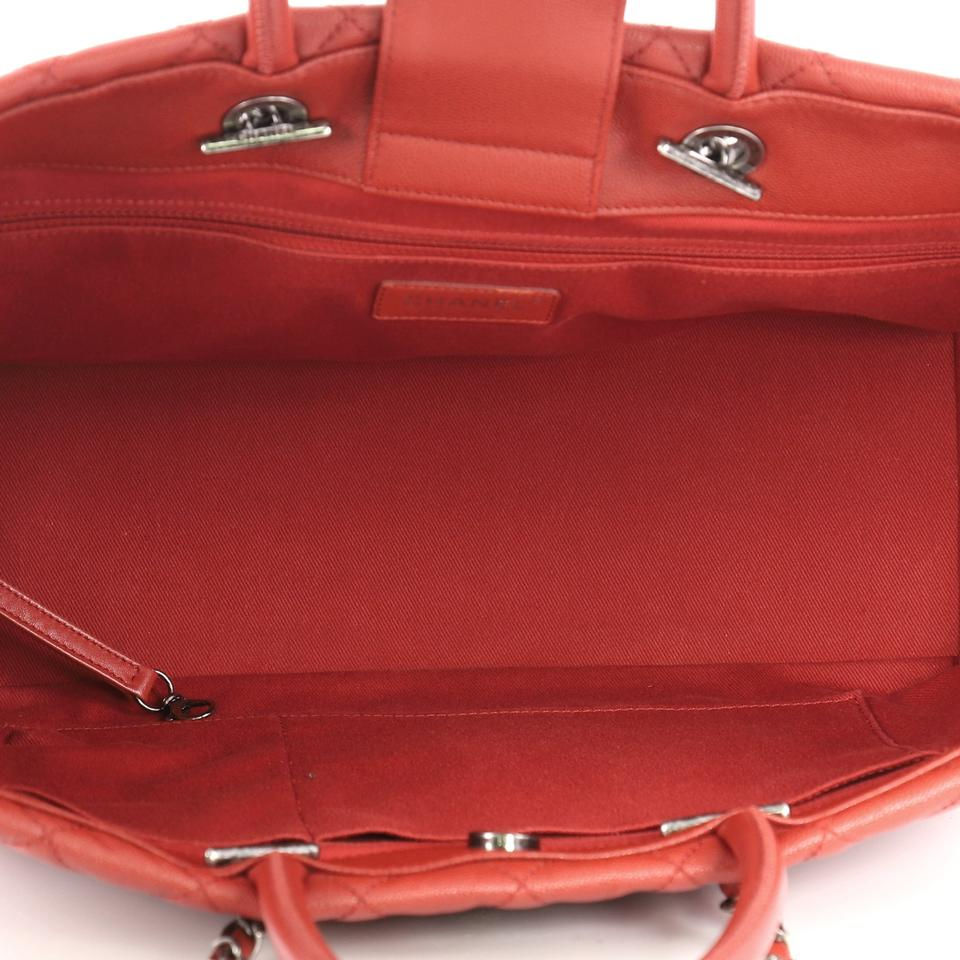 3774cd4eadfd Chanel Coco Handle Shopping Tote Quilted Large Red Caviar Shoulder ...