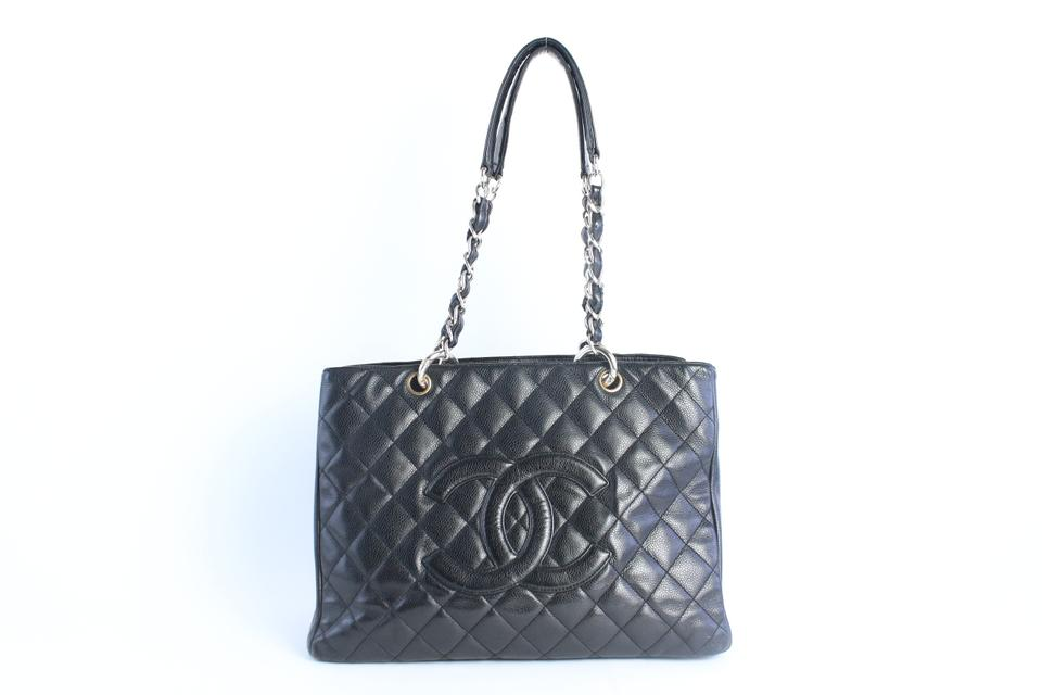 a62c1702e0b3 Chanel Shopping Tote Quilted Caviar Grand Gst 17cz0828 Black Leather ...