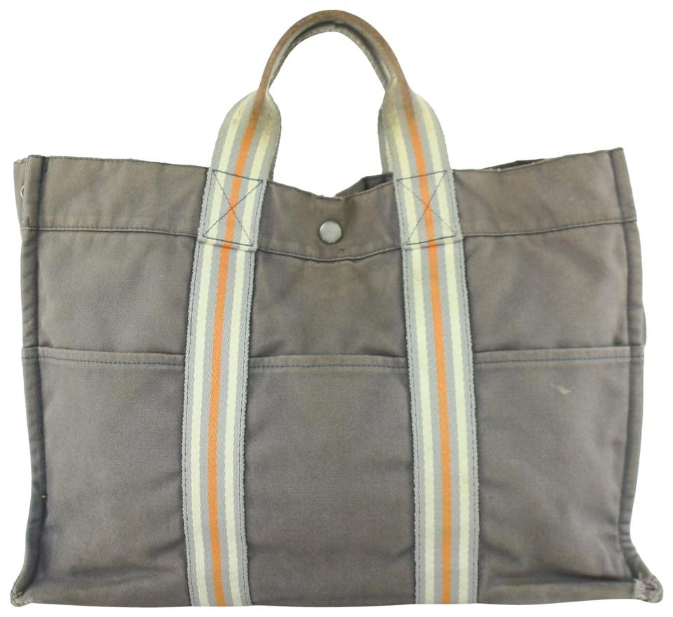 01f2c79a5 Hermès Fourre Tout Striped Mm 24hz0828 Grey Canvas Tote - Tradesy