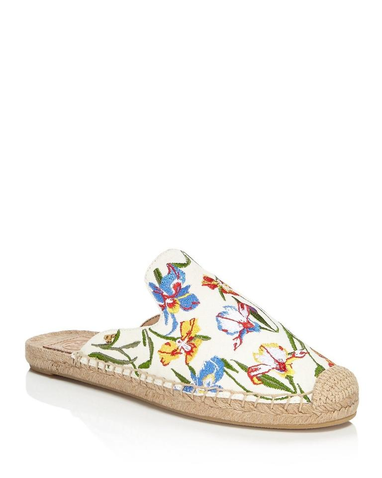 ecfe9fe06 Tory Burch Ivory Embroidered Max Espadrille Floral Mules/Slides Size ...