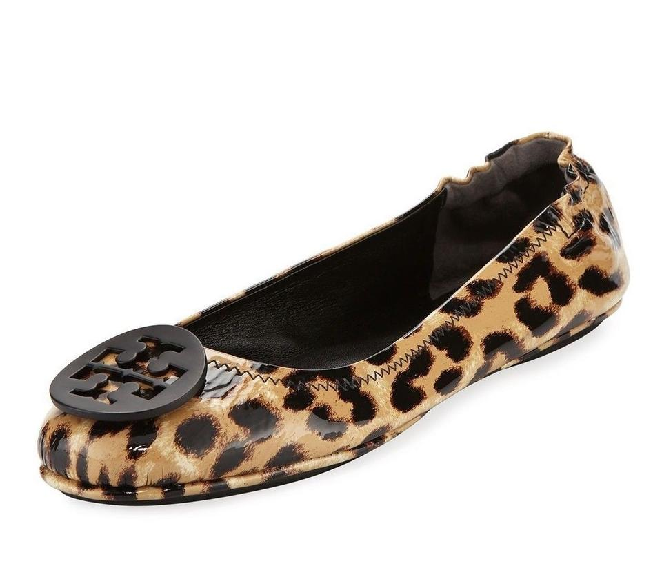 2a58a4c64 Tory Burch Leopard New Minnie Travel Ballet Leather Box 8 Flats Size ...