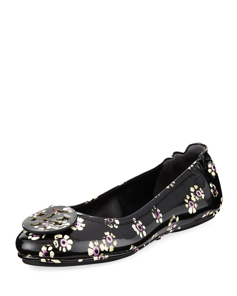 250173b28a85e6 Tory Burch Black Minnie Stamped Floral Travel Ballet Women Flats ...