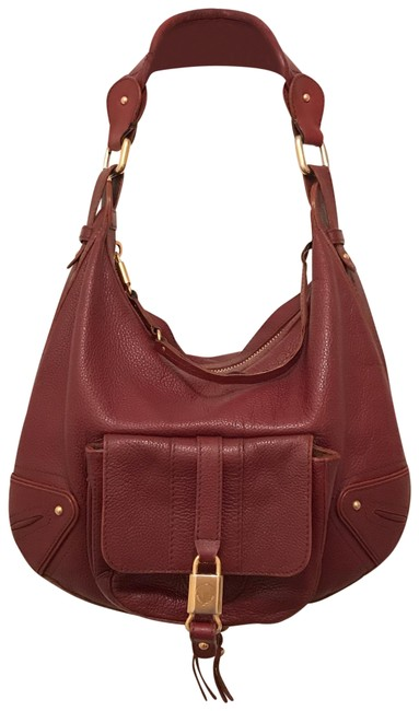 Item - Courtney Expandable Red Burgundy Leather Hobo Bag