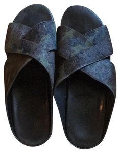 Gentle Souls dark green and black camo with black sole Sandals