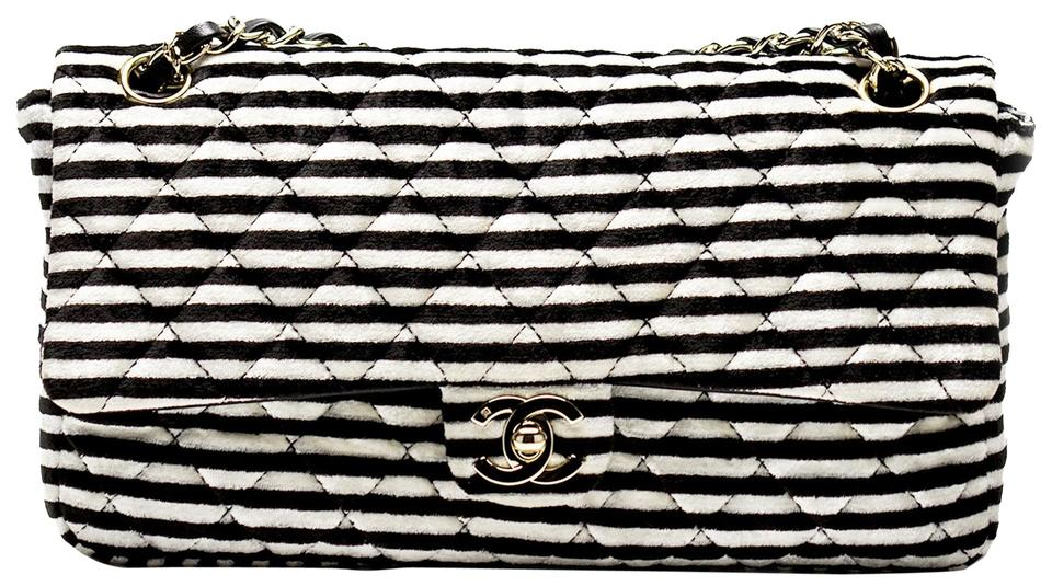 93fac2512c06 Chanel Classic Flap Velvet Striped Black and White Velour Shoulder ...