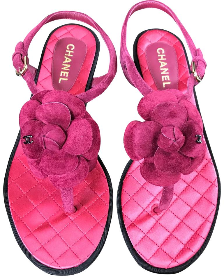 022d229bf2d9 Chanel Pink Suede Camelia Classic Thongs Flats 36c Sandals Size EU ...