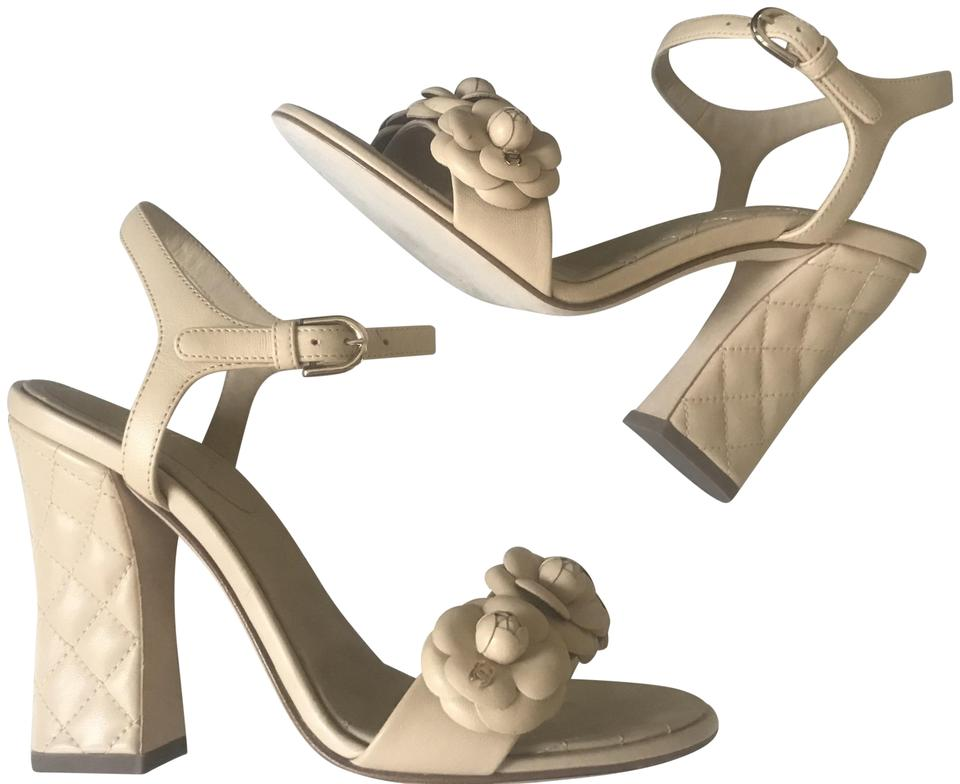 efae9dbb75c Chanel Beige 18p Quilted Leather Camellia Flower Ankle Strap Heels Sandals.  Size  EU 37 ...
