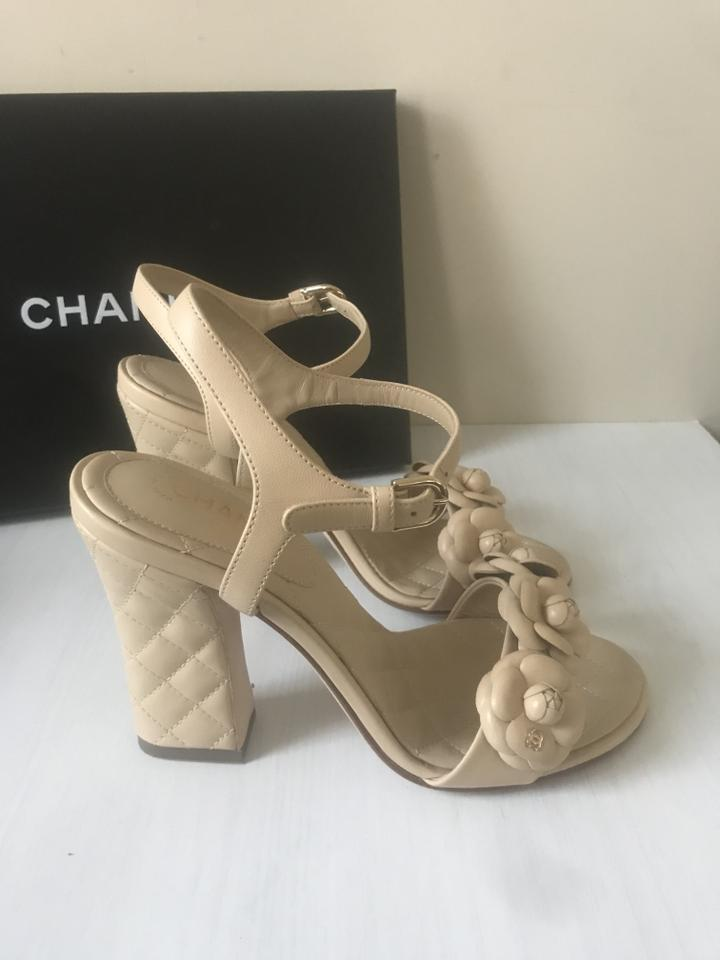 fca0760bfad Chanel Beige 18p Quilted Leather Camellia Flower Ankle Strap Heels Sandals  Size EU 37 (Approx. US 7) Regular (M