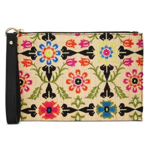 INC International Concepts Straw Woven Embroidered Faux Leather Pouch Wristlet in Multi/black