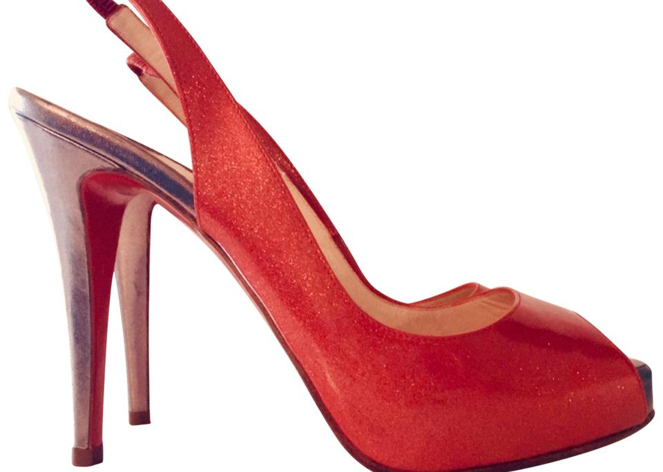 Christian Stiletto Louboutin Red Very Price Stiletto Christian Peep Toe Sling Backs Pumps cdefe4