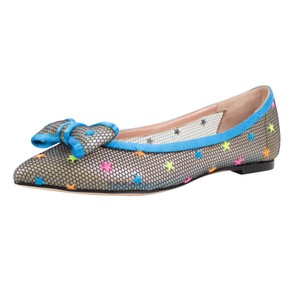 RED Valentino Mesh Stars Bow Blue Flats