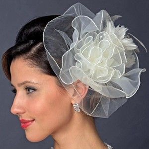 Elegance by Carbonneau Ivory Or White Feather Fascinator Clip Hair Accessory