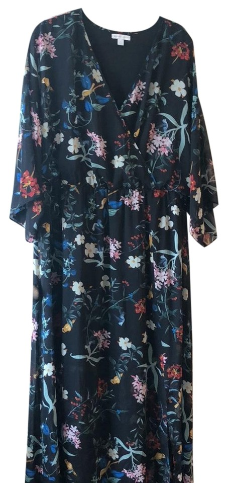 New York Company Black Floral Long Casual Maxi Dress Size 20 Plus