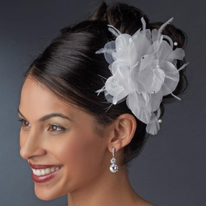 Elegance by Carbonneau Ivory Or White Flower Headpiece with Crystals Feathers Clip Hair Accessory