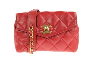 Chanel Envelope Flap Leather Waist Red Clutch