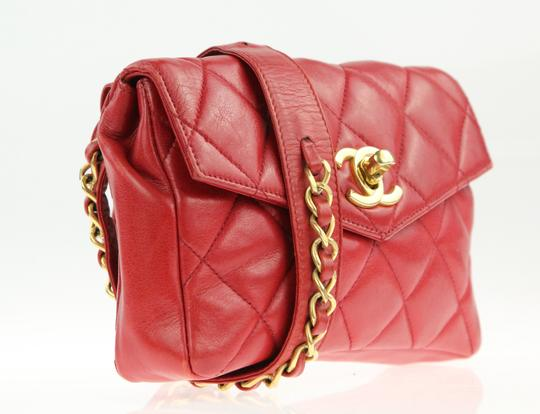 Chanel Envelope Flap Leather Waist Red Clutch Image 1