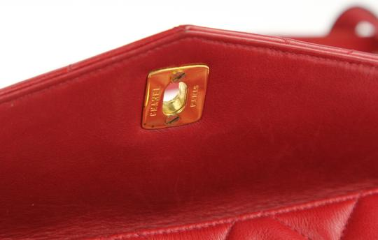 Chanel Envelope Flap Leather Waist Red Clutch Image 10