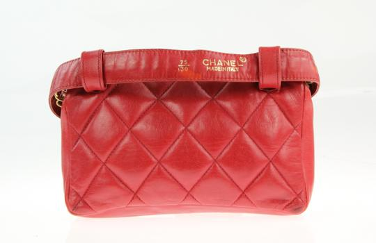 Chanel Envelope Flap Leather Waist Red Clutch Image 2