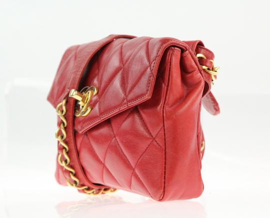 Chanel Envelope Flap Leather Waist Red Clutch Image 3