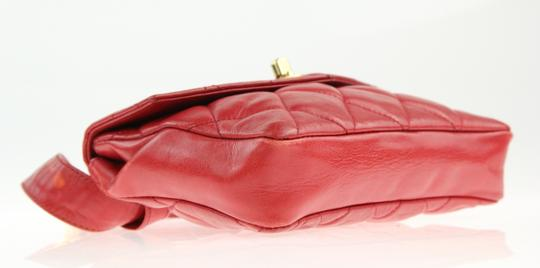 Chanel Envelope Flap Leather Waist Red Clutch Image 4