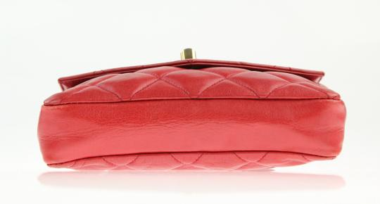 Chanel Envelope Flap Leather Waist Red Clutch Image 5