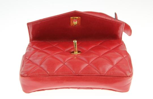 Chanel Envelope Flap Leather Waist Red Clutch Image 6