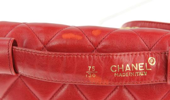 Chanel Envelope Flap Leather Waist Red Clutch Image 7