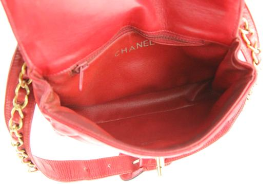 Chanel Envelope Flap Leather Waist Red Clutch Image 8
