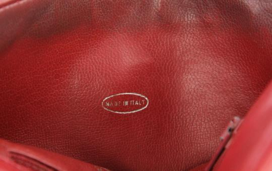 Chanel Envelope Flap Leather Waist Red Clutch Image 9