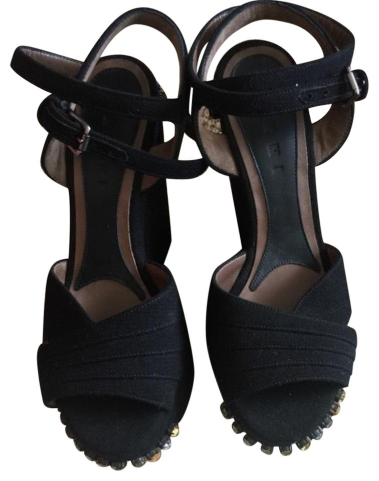 d8e543078 Marni Black Rhinestones Sandals Wedges Size US 7 Regular (M