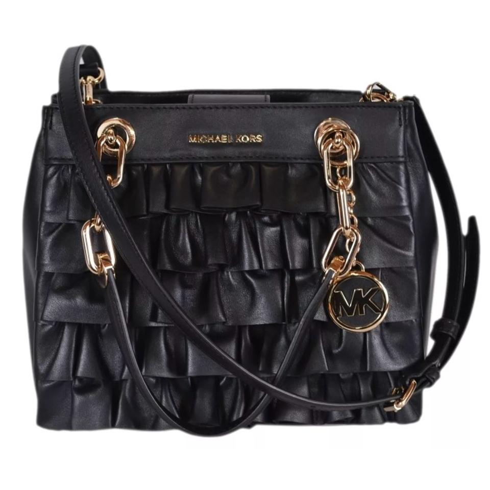 64916fe30aea Michael Kors Collection Satchel/Crossbody Black/Gold Ruffled Leather  Shoulder Bag