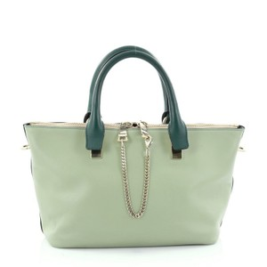 Chloé Leather Satchel in Bicolor Green and Light Green