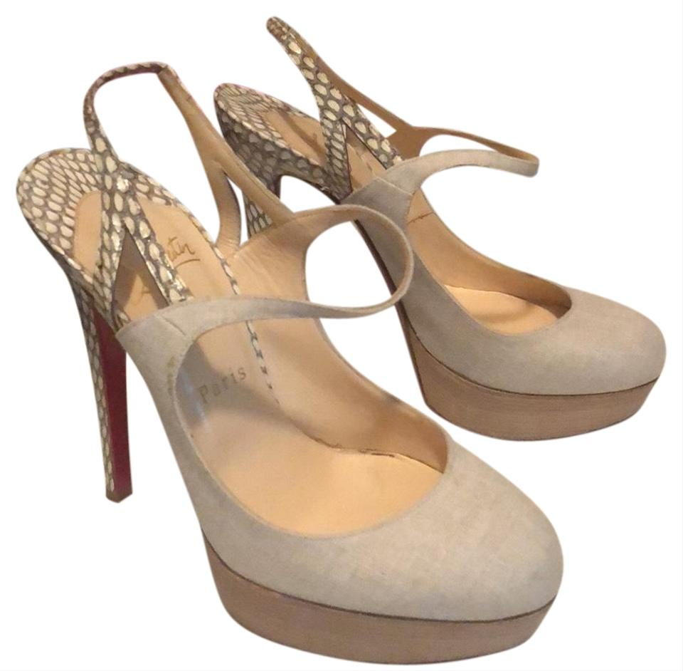 Christian Louboutin 140 Natural Color Fine Bretelle 140 Louboutin Platforms 0d4f15