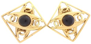Chanel Chanel vintage CC logos w/ black stone large size clips earrings