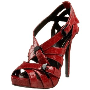 Report Signature Leather Stiletto Sexy Strappy Summer Lovers Meow Red Platforms
