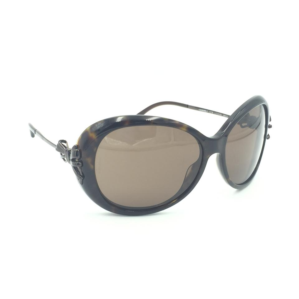 8bd30abf38 Chanel Oval Tortoise Brown Bow Sunglasses 5178 714 3G Image 9. 12345678910