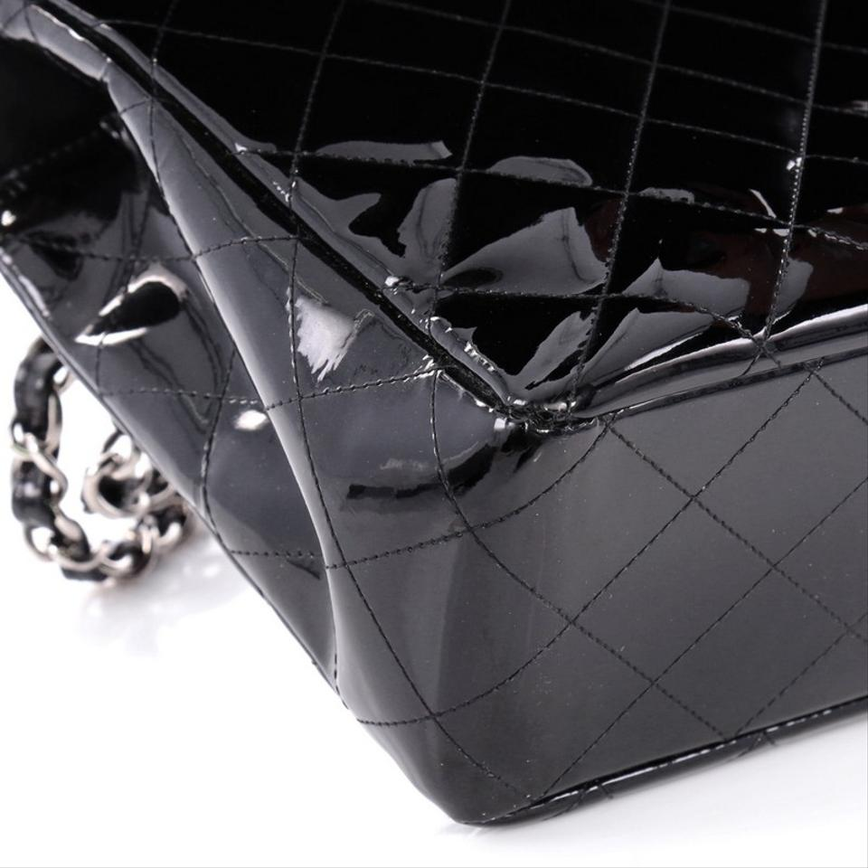 b78190035476 Chanel Classic Flap Classic Single Quilted Jumbo Black Patent ...