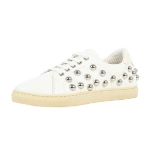 RED Valentino Silver Studded Sneaker Lace Up White Athletic