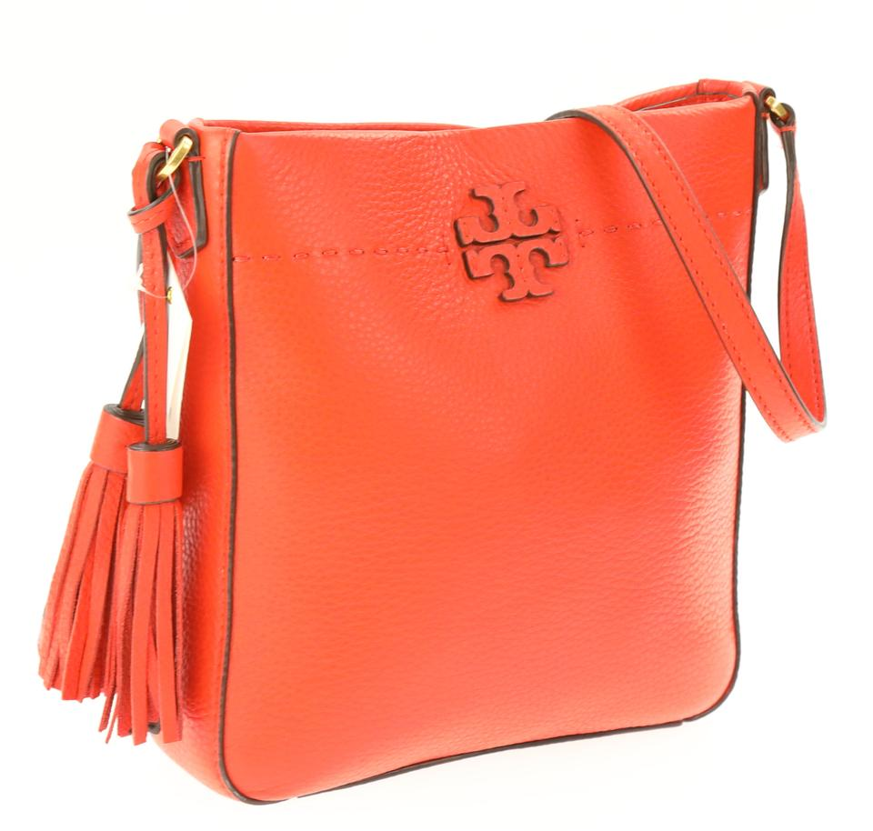 1febb472e2b Tory Burch Mcgraw Swingback Poppy Red Orange Leather Cross Body Bag ...