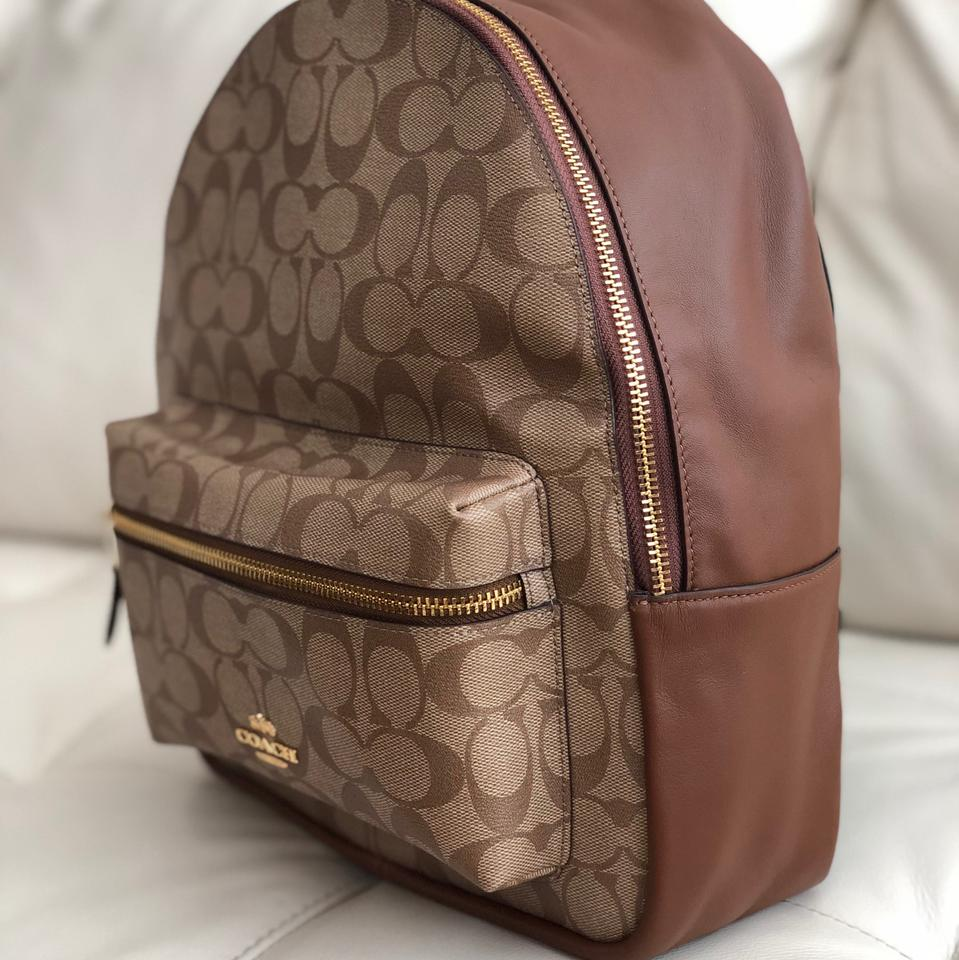 dfae9094fcadf Coach Medium Charlie Signature F32200   Wallet Khaki Saddle Canvas Backpack  - Tradesy