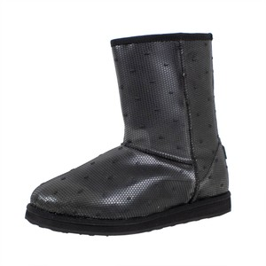 RED Valentino Fur Mesh Polka Dot Winter Black Boots