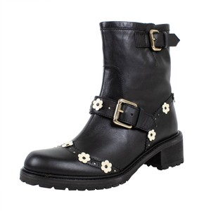 RED Valentino Winter Floral Buckle Black Boots