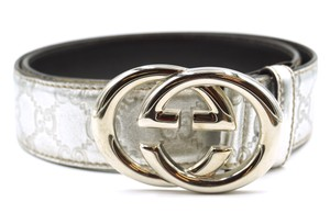 Gucci GG logo silver buckle leather Belt Size 85 34
