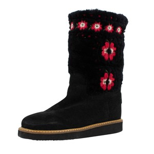 RED Valentino Fur Winter Embroidered Knit Black Boots