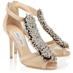 Jimmy Choo nude silver suede Pumps