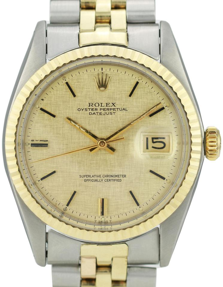 8213c5cacd9 Rolex Rolex Mens Datejust Two-tone 36mm Champagne Dial Fluted Bezel Image 0  ...