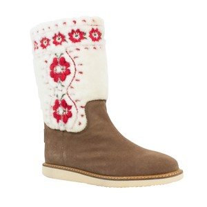 RED Valentino Fur Winter Embroidered Knit Brown Boots